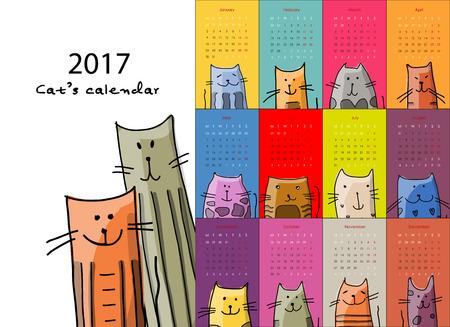 calendario escolar: Gatos graciosos. El diseño del calendario 2017. ilustración