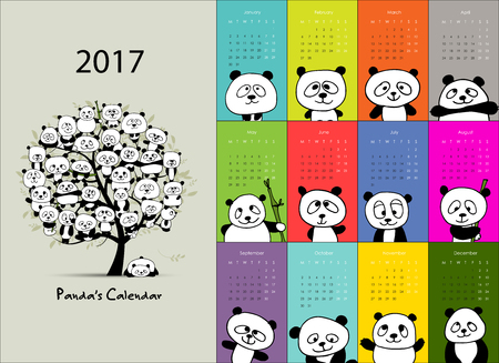 character cartoon: Panda calendar 2017 design. illustration