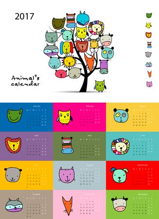 Funny animals, calendar 2017 design. illustration