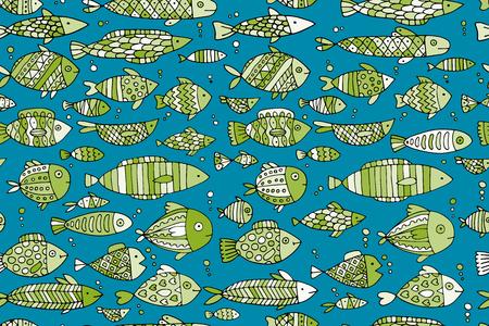 아트 물고기 컬렉션, 디자인을위한 스케치. 삽화 스톡 콘텐츠 - 68423010