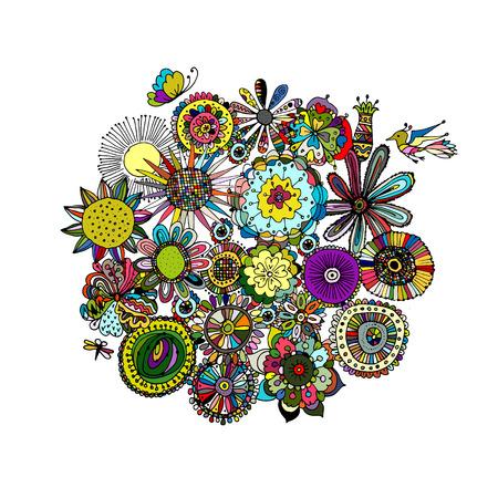 pencil drawing: Floral frame, sketch for your design. illustration