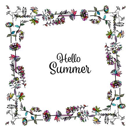 vintage border: Floral frame, sketch for your design
