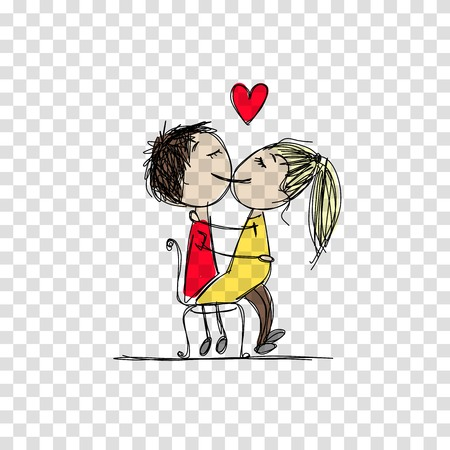 Couple in love kissing, valentine sketch for your design, illustration