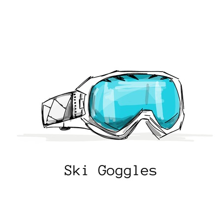 Ski goggles, sketch for your design.  illustration