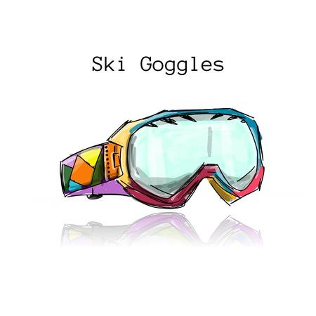 Ski goggles, sketch for your design.  illustration
