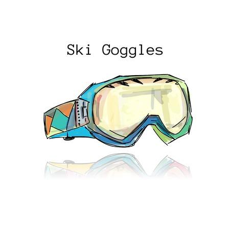 ski: Ski goggles, sketch for your design.  illustration