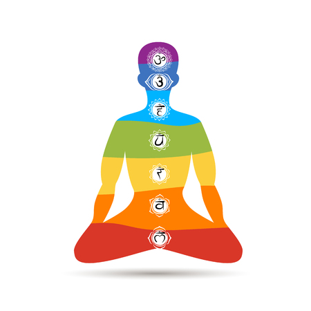 Yoga lotus pose with chakras for your design. illustration Illustration