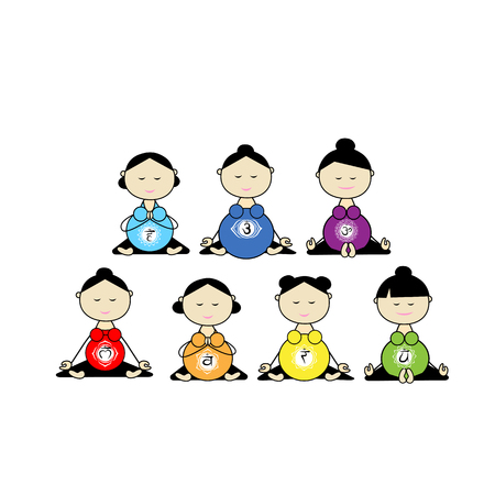 Pregnant yoga, women group, chakra symbols. illustration Illustration