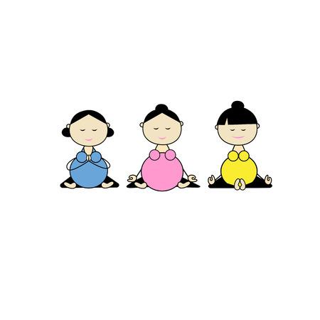 Pregnant yoga, women group for your design. illustration Illustration