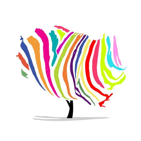 zebra skin: Art tree, colorful zebra for your design. illustration
