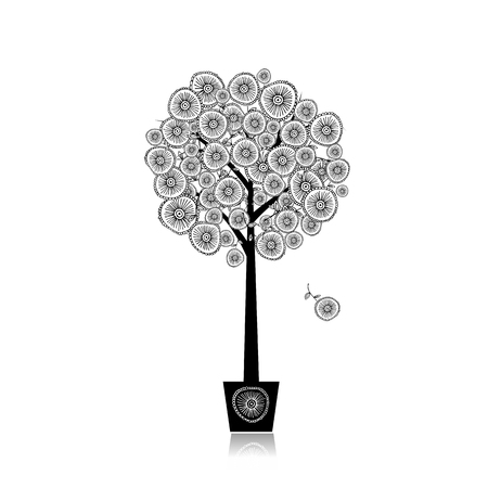 tree: Floral tree in pot for your design. Illustration