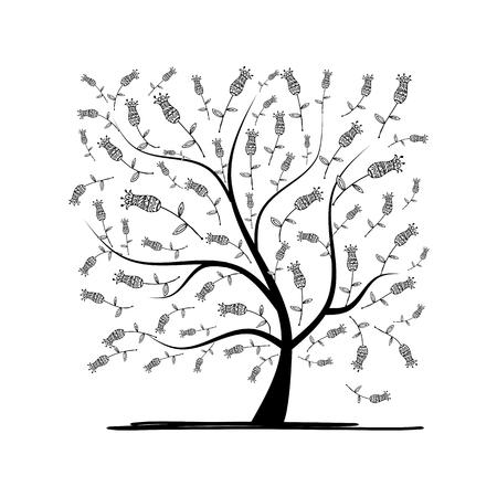 Art carré d'arbre pour votre design. illustration