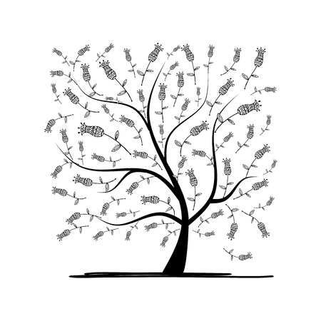 Art tree square for your design. illustration