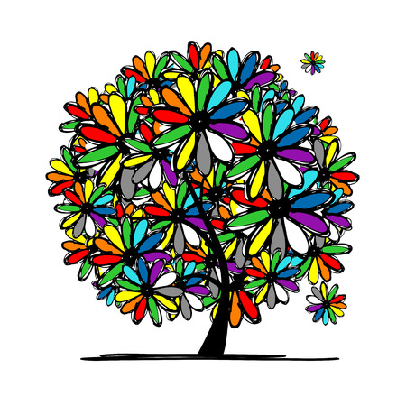 green and black: Colorful floral tree for your design. illustration