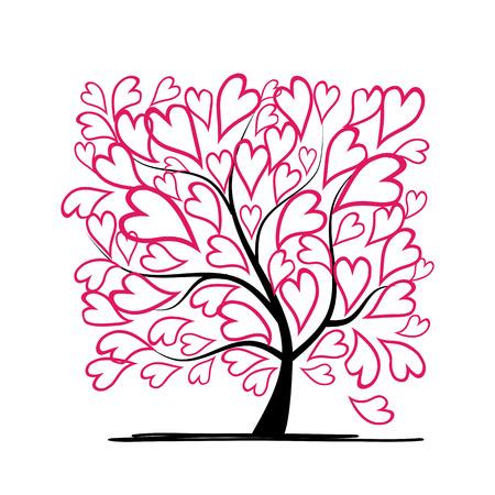 love tree: Valentine tree, love, leaf from hearts. illustration