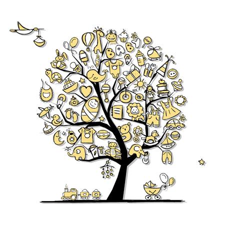 Árbol de arte con juguetes de bebé para su diseño. ilustración