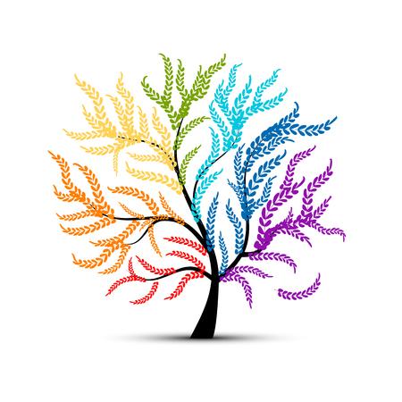Arte colorido del árbol para su diseño.