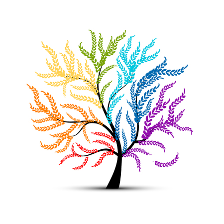 tree of life: Art tree colorful  for your design.