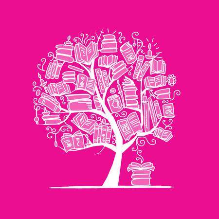 grammatical: Book tree, sketch for your design. Illustration