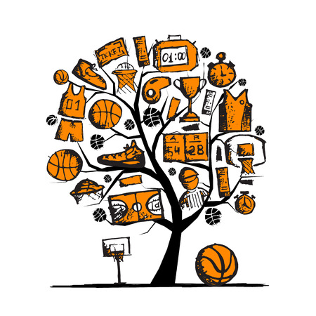 Basketball tree concept, sketch for your design. illustration