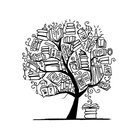 árbol de libro, boceto de su diseño. ilustración