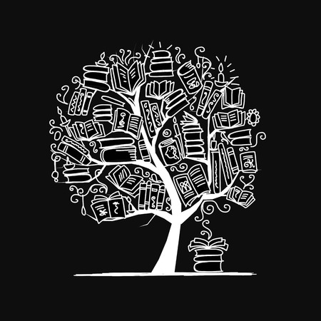 Book tree, sketch for your design. illustration Иллюстрация