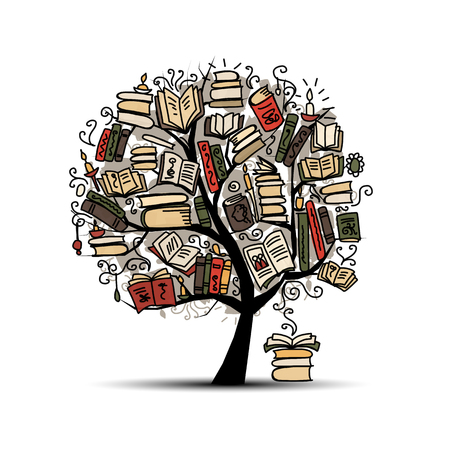 Book tree, sketch for your design. illustration Vettoriali