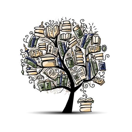 Book tree, sketch for your design. illustration Illustration