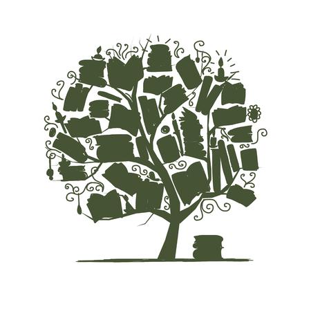 grammatical: Book tree, sketch for your design. illustration Illustration