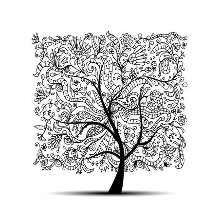 Floral tree, black silhouette for your design. illustration 向量圖像
