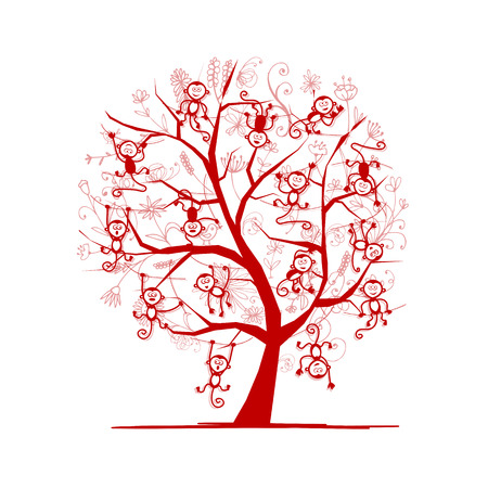 Monkey tree for your design. Symbol of 2016 year.