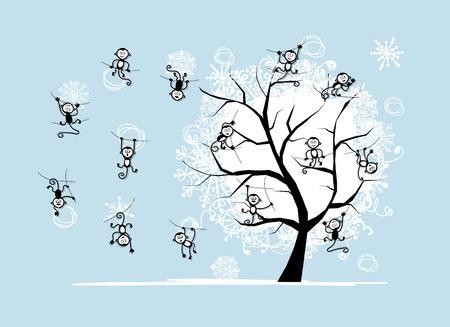 tree symbol: Monkey tree for your design. Symbol of 2016 year.