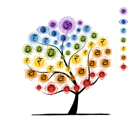 vishuddha: Yoga tree with chakras, sketch foy your design. illustration