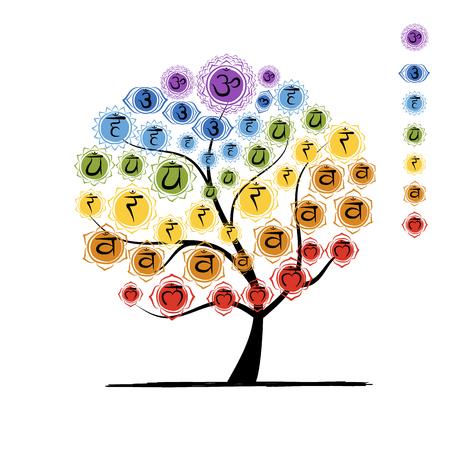Yogaboom met chakra's, schets foy uw ontwerp. illustratie Stock Illustratie