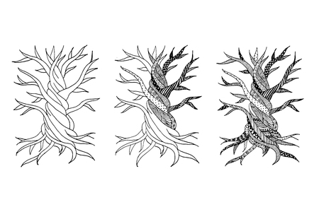 tree: Abstract old tree with roots, zen doodle for your design.  illustration Illustration