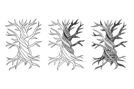 Résumé vieil arbre avec des racines, griffonnage zen pour votre conception. illustration Banque d'images - 68555714