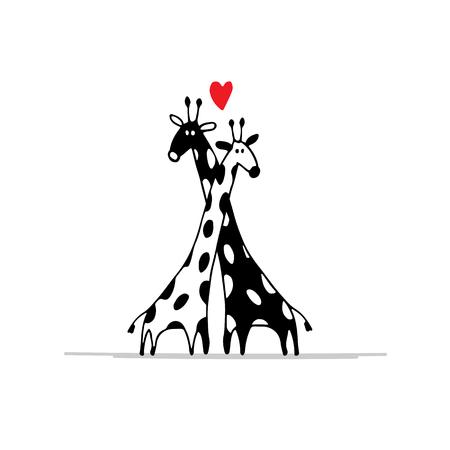 Giraffes couple in love, sketch for your design. illustration