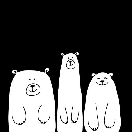 Funny white bears, sketch for your design. illustration