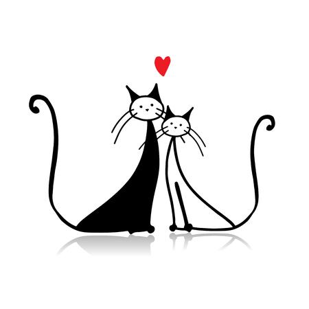 Couple of cat, sketch for your design. illustration Illustration