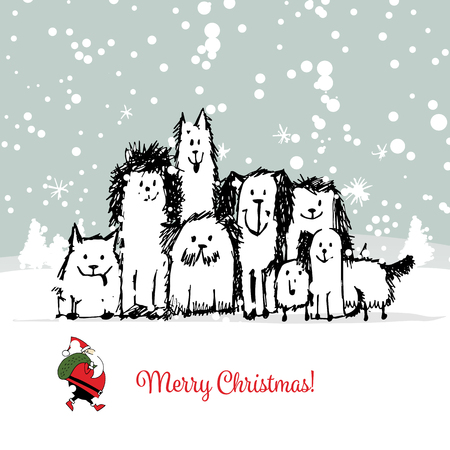 festive background: Christmas card with happy dogs family. illustration