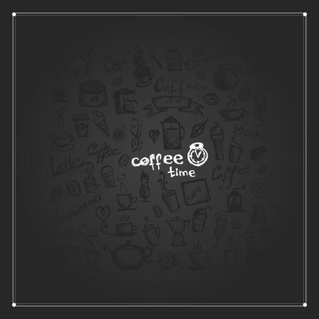time frame: Coffee time, frame for your design. illustration