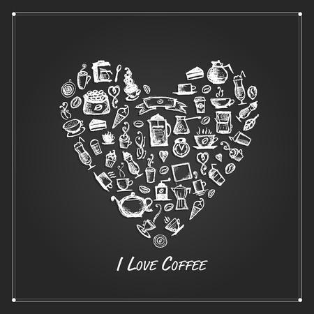 Coffee time, heart shape for your design. illustration Illustration