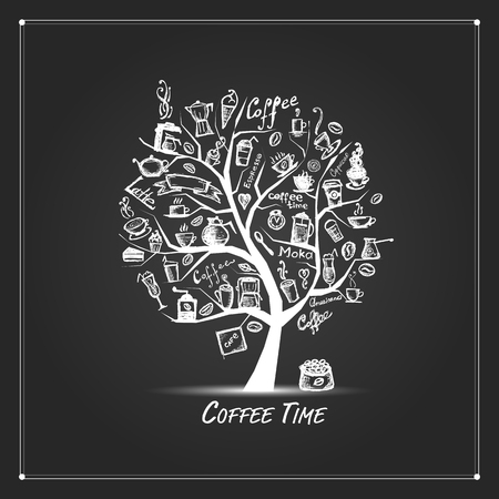coffee grains: Cofee time. Art tree for your design