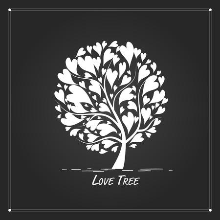 Rbol de amor para su diseño. ilustración Foto de archivo - 68559202