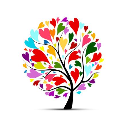 Love tree for your design. illustration Vektorové ilustrace