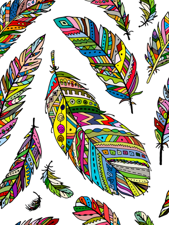 animal silhouette: Feather seamless pattern for your design. illustration Illustration