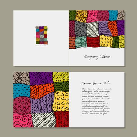 arte moderno: tarjeta de felicitación, diseño de la alfombra de retazos. ilustración vectorial Vectores