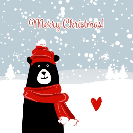 Christmas card with white santa bear. illustration Illustration