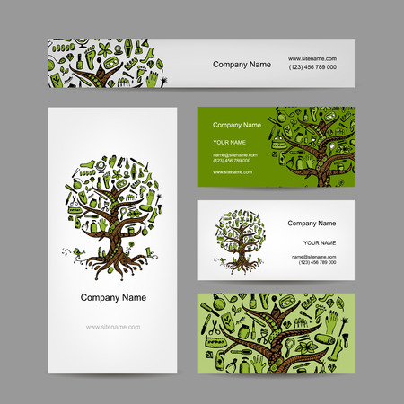 pedicure set: Business cards set with cosmetic tree design. illustration Illustration