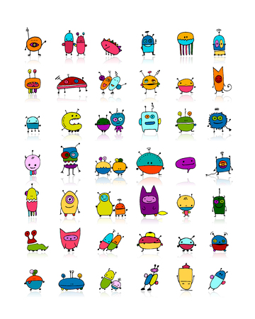 Funny aliens collection, sketch for your design. illustration